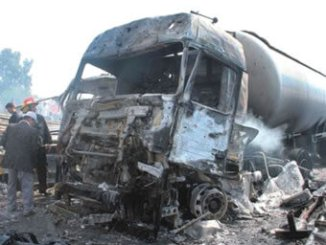 Two explosions hit the Arzoneh motorway bridge at the entrance to Tartous. PHOTO: AFP