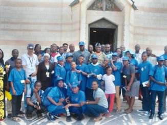 Executive Secretary, Nigeria  Christian Pilgrim Commission (NCPC), Reverend Tor Uja (middle in native) with some Nigeria Youths at the Church of Annunciation in Galilee during the ongoing 2016 Youth and Family Pilgrimage to Israel.