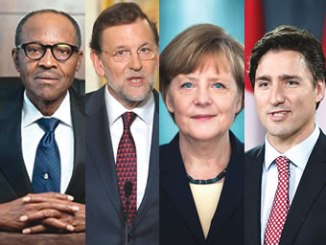 Nigerian President, Muhammadu Buhari, Spanish Prime Minister, Mariano Rajoy, German Chancellor, Angela Merkel and  Canadian Prime Minister, Justin Trudeau