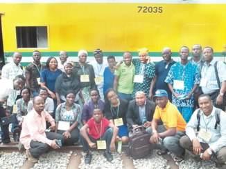 •A cross section of ANA members on the rail track in Abeokuta.