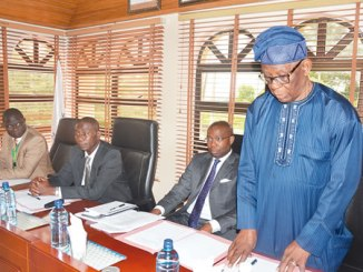 Founder, Elizade University, Chief Michael Ade-Ojo (right) inaugurating the new governing council of the university. With him (from left) are the registrar, Mr Omololu Adegbenro; the vice chancellor, Professor Kunle Oloyede, and the pro-chancellor and chairman of council, Mr. Aigboje Aig-Imoukhuede.