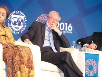 "From left, Minister of Finance, Mrs Kemi Adeosun; a Professor of Economics and public policy, Oxford University, UK, Professor Paul Collier; and chair, World Economic Fourim's Global Financial System Initiative, Anders Borg, during a panel discussion organised by the International Monetary Fund (IMF), at the sideline of the World Bank/IMF general meeting with the theme: ""Towards better infrastructure in developing countries, in Washington DC on Wednesday.  PHOTO: NAN"