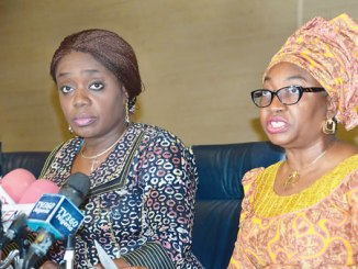 Minister of finance, Mrs Kemi Adeosun (left) and the head of the civil service of the federation, Mrs Winifred Ekanem Oyo-Ita , at a workshop on cost management on overhead for permanent secretaries and chief executive officers of departments and federal government agencies in Abuja on Thursday.
