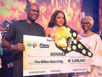 Amina Oyagbola (right), Okiemute Ighorodje and another  official at the closing gala.
