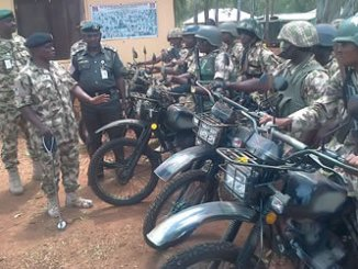 Army officials launching Operation Safe Haven motorbike patrol in Plateau.