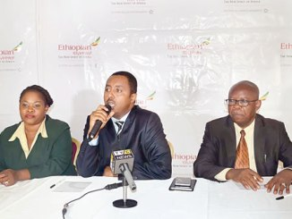 The Senior Sales General Manager, Nigeria, Ethiopia Airlines, Solomon Begashaw (middle); Representative, Nigeria, Mrs Adetola Alabi and Sales Manager, Nigeria, Mr Omerenna Elias, at a press conference on the airline's 70 years of operations globally and 56 years of operations  into Nigeria on Monday  in Lagos.