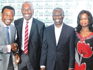 From left, Managing Director/Chief Executive Officer, Mr Richard Nyong; Chief Technical Officer, Mr Andrew Jibunoh; the Board Chairman, Mr Arobo Kalango and the Chief Operating Officer, Mrs Christy Amida, all of Lekki Gardens Estate Limited at a special media parley held by the company  on Friday in Lagos. Photo: Sylvester Okoruwa.