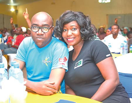 From left, Category manager, Olympic brand, Mr Ralph Agbaje with the MD of Emory Green Limited, Mrs Tokunbo Nasamu