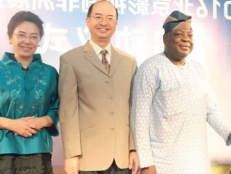 From left, Group Vice President StarTimes, Guo Ziqi; Cultural Counsellor of Chinese Embassy in Nigeria, Yan Ziangdong and the representative of the Permanent Secretary, Ministry of Information and Culture, Peter Dama, at the unveiling of the 2016 Chinese Movies and Drama Series in Abuja recently.