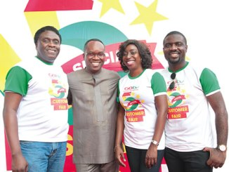 From left, General Manager, GOtv, Akinola Salu; MultiChoice Mega  Dealer, Oladipo Okuwobi; Public Relations Manager, GOtv, Efe Obiomah and Marketing Manager, GOtv, Johnson Ivase, during the GOtv 5th Anniversary Customer Fun Fair, held at the Indoor Sports Hall of National Stadium, Surulere, Lagos on  Saturday