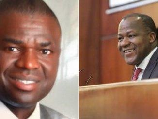 House Speaker Yakubu Dogara and Phillip Shuaibu, Deputy Governor-elect of Edo State.