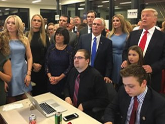 Team Trump, including Donald Trump, his family, and running mate Mike Pence - watches election results. Ivanka Trump posted the image to her Twitter feed.