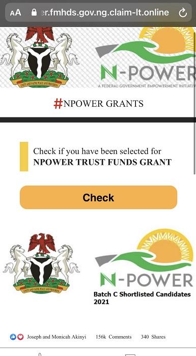 Fake website N-Power