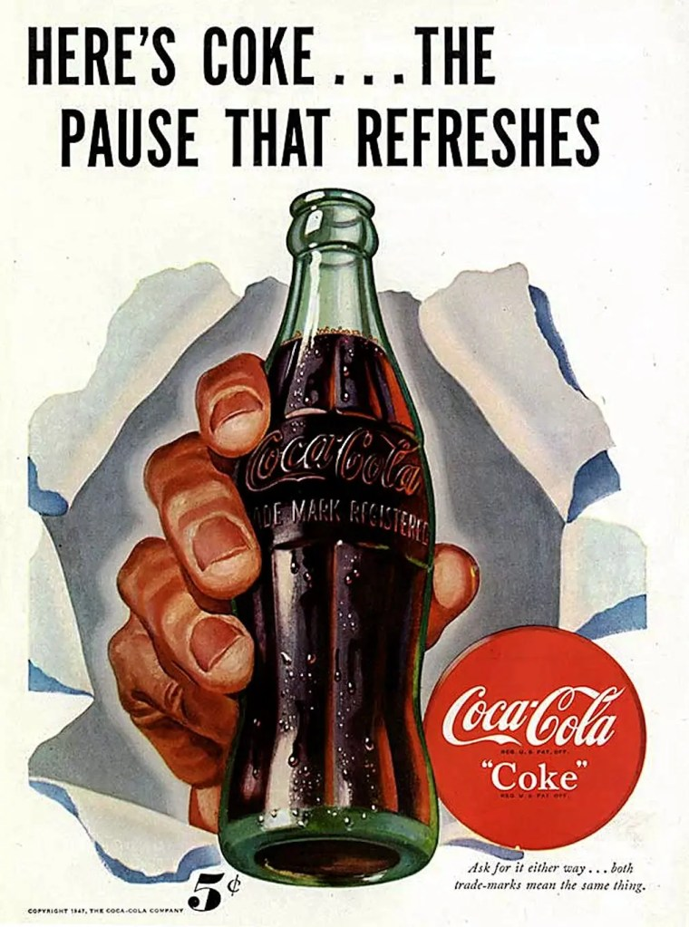 1947 Print Ad - 'Here's Coke... The Pause that Refreshes'