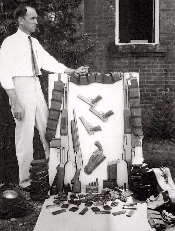 Photo Showing Guns and Ammo from Bonnie and Clyde Car - 1934