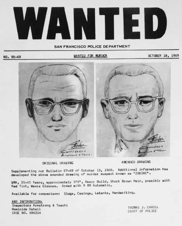 The Zodiac Killer - Wanted Poster - 1969