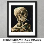 1886 'Skull of a Skeleton with a Burning Cigarette' Vincent van Gogh – 8×10 Fine Art Print