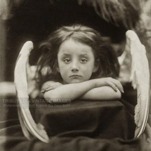 Antique 1872 Photo - I Wait - Little Angel Girl Photograph - Julia Margaret Cameron
