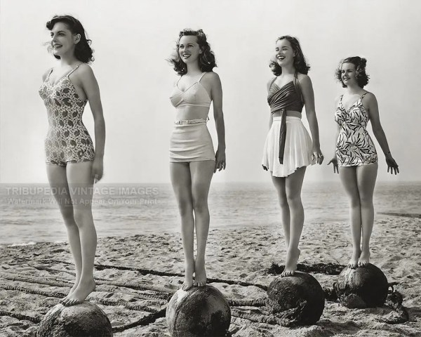 Four Beautiful Women Vintage 1940s Swimwear Competition Photo
