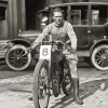 "Vintage 1922 Harley-Davidson Photo - Fred ""Freddy"" Fretwell with Trophy on Harley-Davidson Motorcycle"