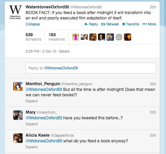 A Waterstone's Oxford Street tweet exchange