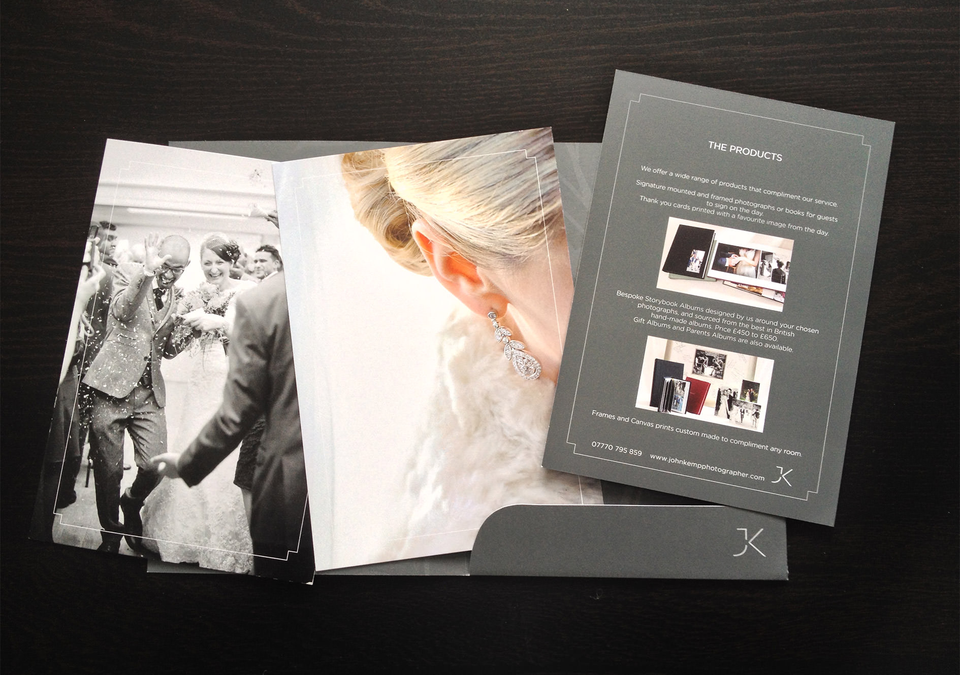 A photo of a folder and inserts for John Kemp Photography | Tribus Creative - stationery design for small business
