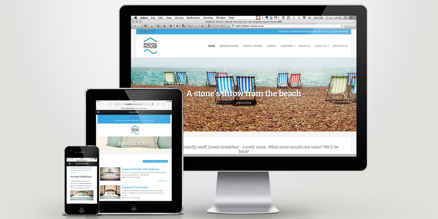 An image of the Brighton House website as displayed on multiple devices – Tribus Creative, branding and web design for small business
