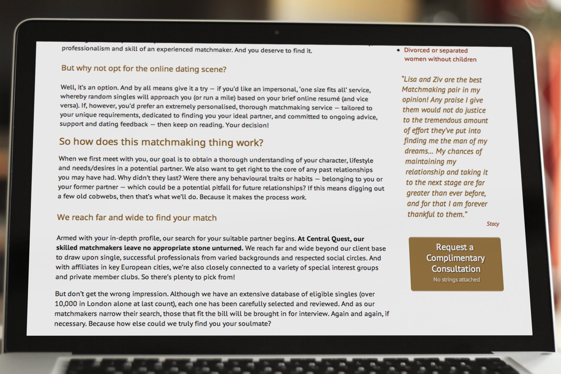 The copy on the membership of the Central Quest website as viewed on an laptop | Tribus Creative – web copywriting services for small business