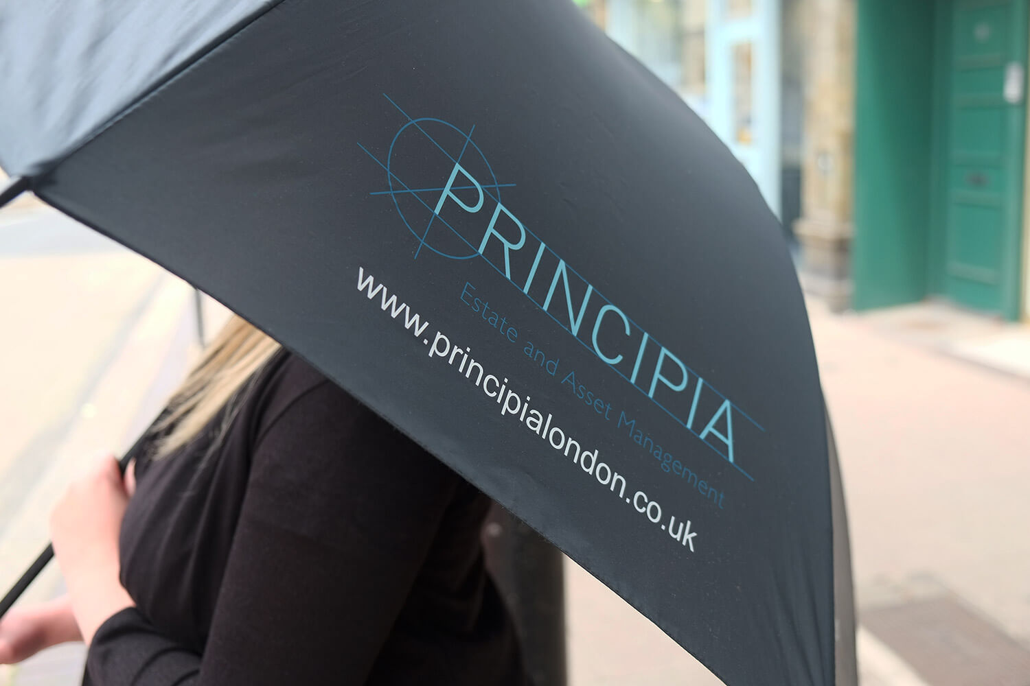 A photo of an umbrella featuring the Principia brand identity design