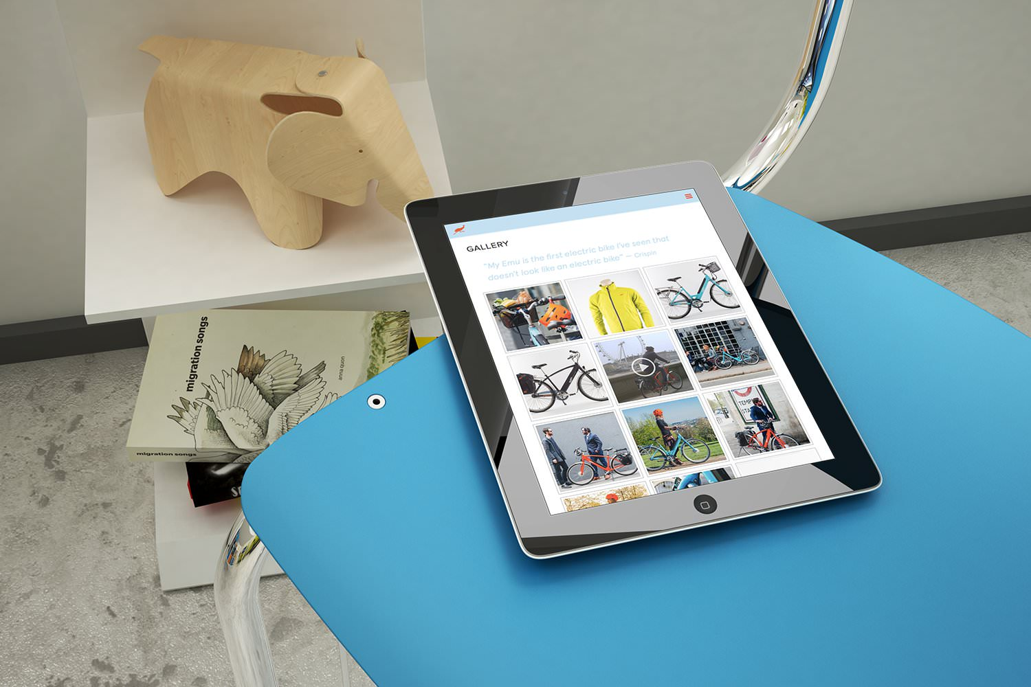 The Emu Bikes e-commerce website design displayed on a tablet – Tribus Creative – web design for small business