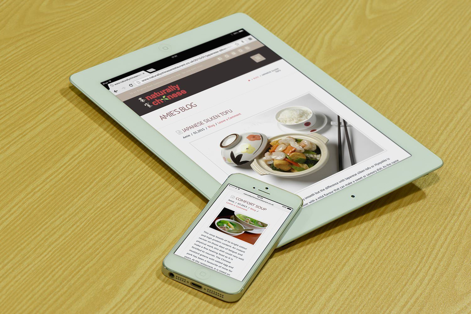 The blog of the Naturally Chinese website displayed on a tablet and iphone –Tribus Creative – website and marketing strategies for small business