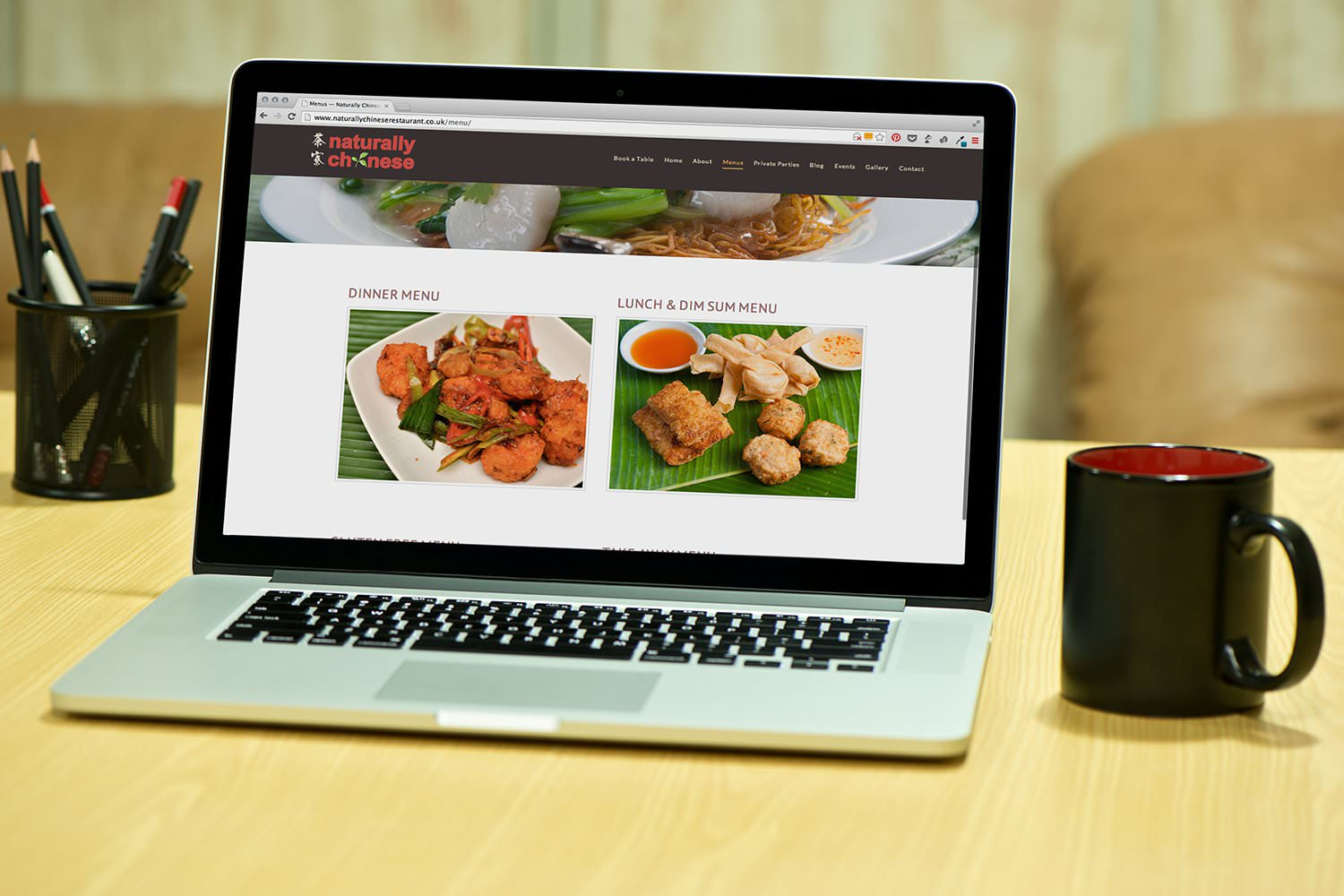 The menus page of the Naturally Chinese website displayed on a laptop –Tribus Creative – website and marketing strategies for small business