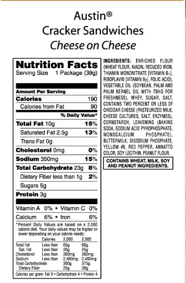 Ritz Crackers Nutrition Label