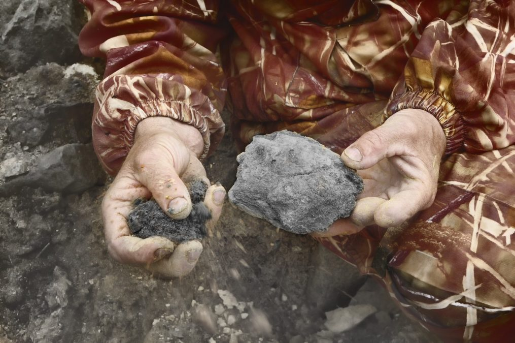 Black Soil For Planting In Man Hands