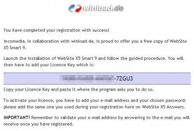 Website X5 License Key