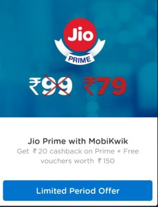 (Special offer) Mobikwik Jio Prime Offers- Get Jio Prime In Just Rs.49 + Rs.150 Voucher