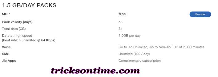 reliance jio rs 399 recharge plan