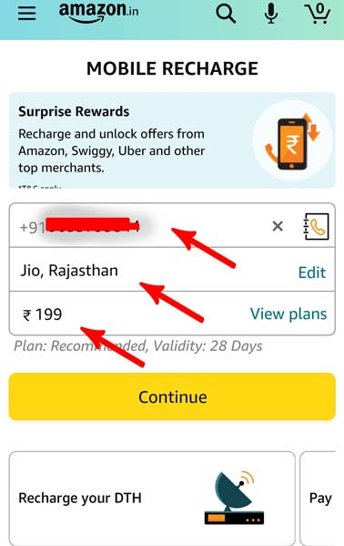 online mobile recharge through amazon pay