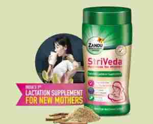 Free Sample Zandu StriVeda Lactation Supplement