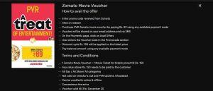 Zomato PVR Movie Voucher Offer
