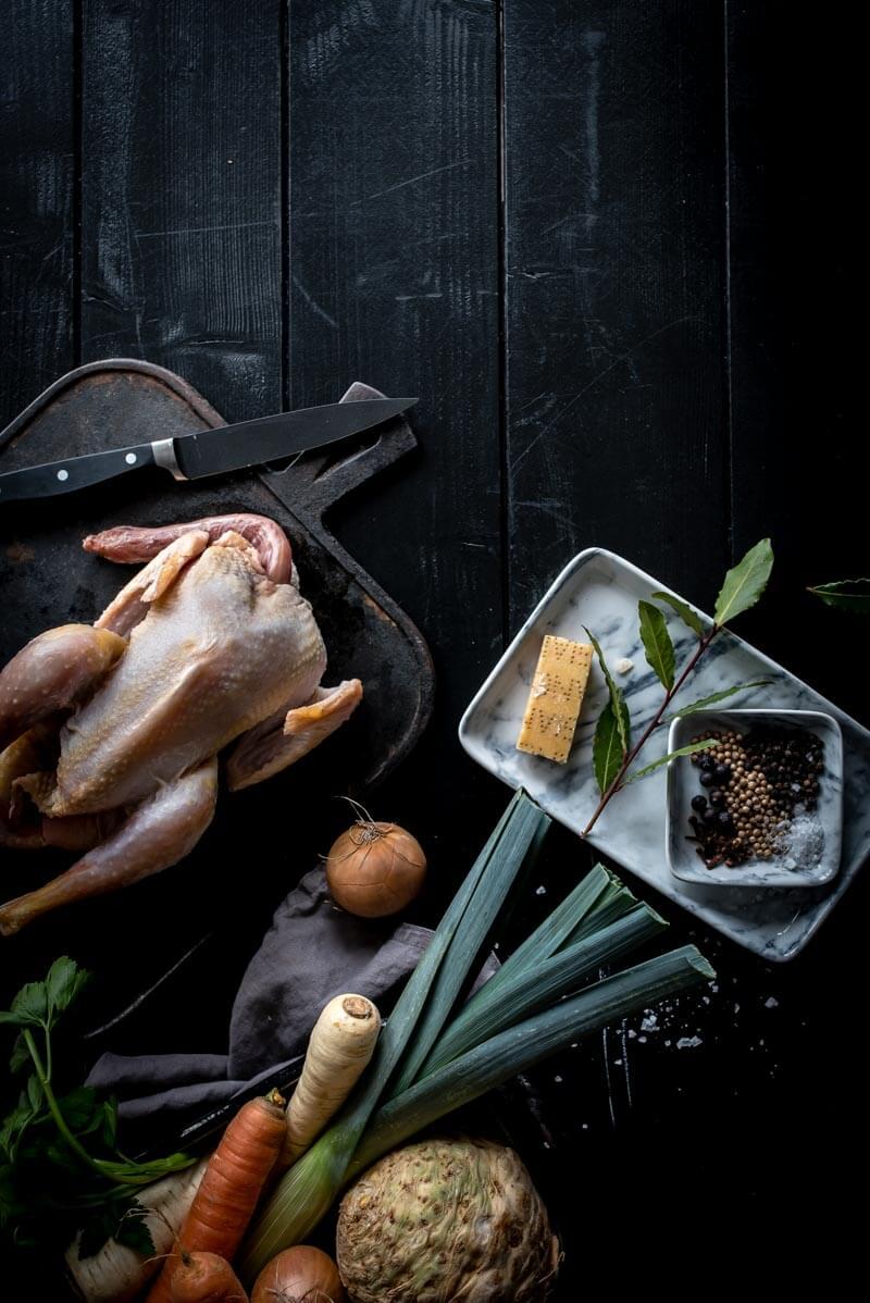 selbstgemachte Hühnbrühe Hühnersuppe trickytine