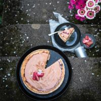 fluffiger käsekuchen mit tonkabohne, rhabarbercurd und rhabarberkompott