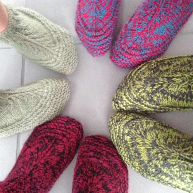 adults knitted slippers