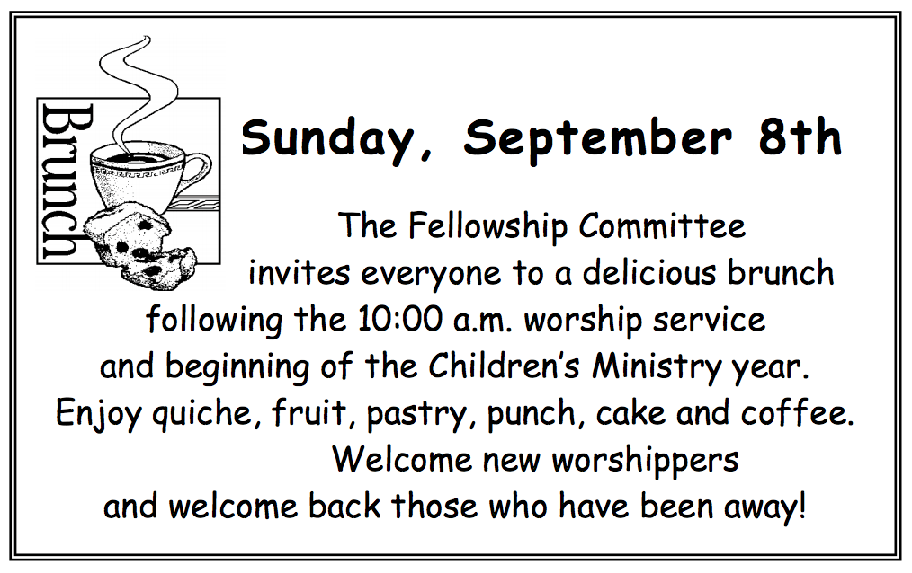 """""""WELCOME SUNDAY"""" Brunch. All are welcome!"""