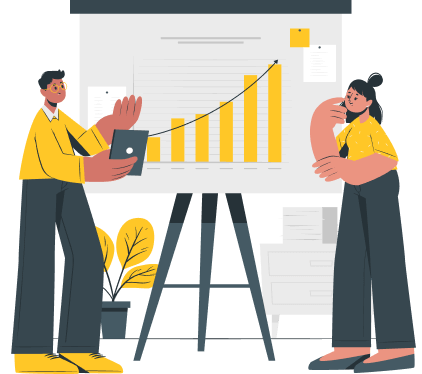 Icon of a man and a woman analyzing a graph