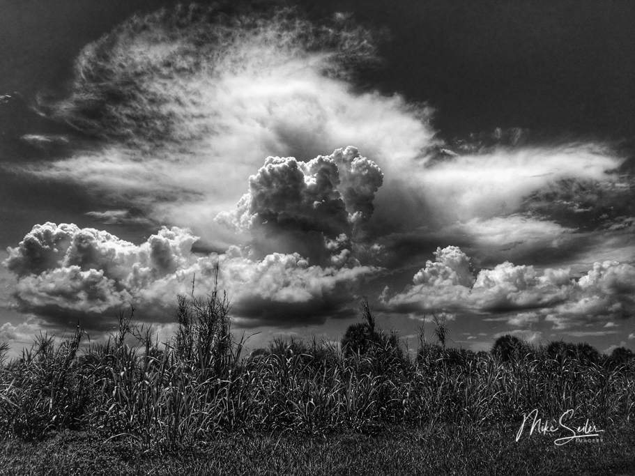 black white clouds of