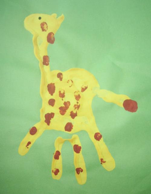 жираф из отпечатков