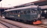 <h5>Triebwagen 5 in Einsiedeln</h5><p>Der Triebwagen 5 am 10. April 1993 in Einsiedeln</p>