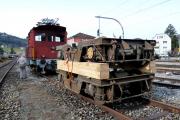 <h5>Abtransport der Drehgestelle in die Revision</h5><p>Dier Drehgestelle werden vom Tem des DVZO zum Verladeplatz gebracht.</p>