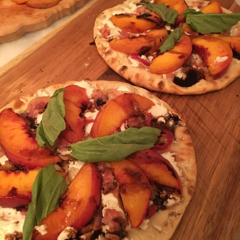 grilled peach flatbread - Grilled peach & pancetta flatbread